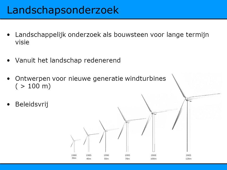 Landschapsonderzoek Landschappelijk onderzoek als bouwsteen voor lange termijn visie Vanuit het landschap redenerend Ontwerpen voor nieuwe generatie windturbines ( > 100 m) Beleidsvrij