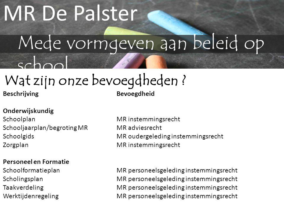 MR De Palster Mede vormgeven aan beleid op school Wat zijn onze bevoegdheden ? BeschrijvingBevoegdheid Onderwijskundig Schoolplan MR instemmingsrecht