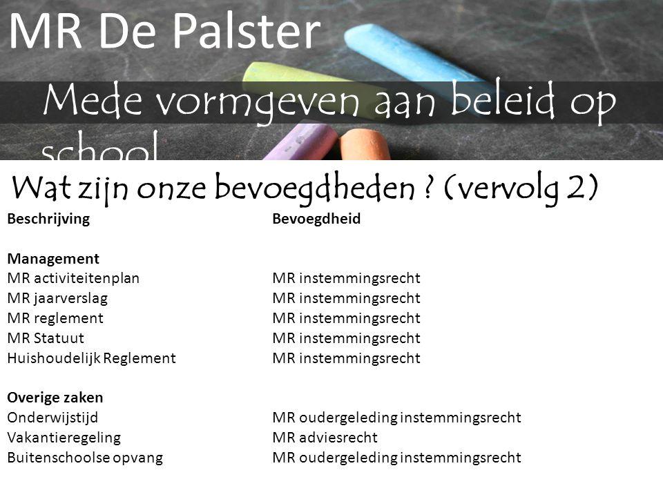MR De Palster Mede vormgeven aan beleid op school Wat zijn onze bevoegdheden ? (vervolg 2) BeschrijvingBevoegdheid Management MR activiteitenplanMR in