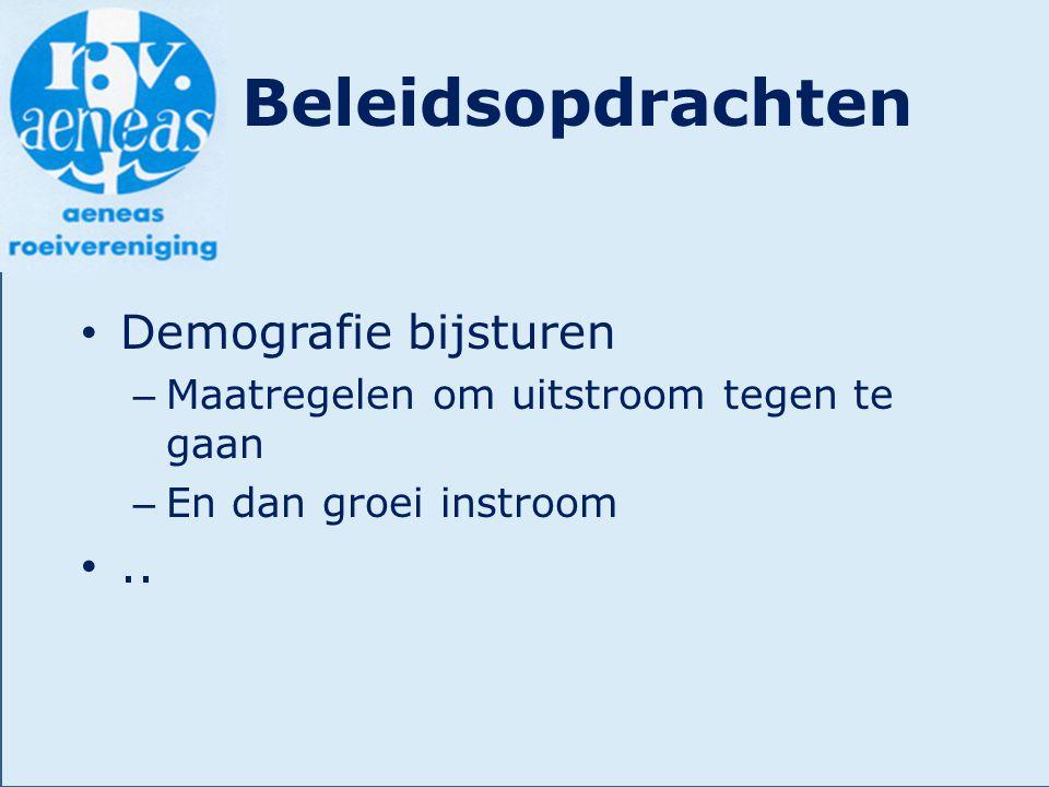 Beleidsopdrachten Demografie bijsturen – Maatregelen om uitstroom tegen te gaan – En dan groei instroom..