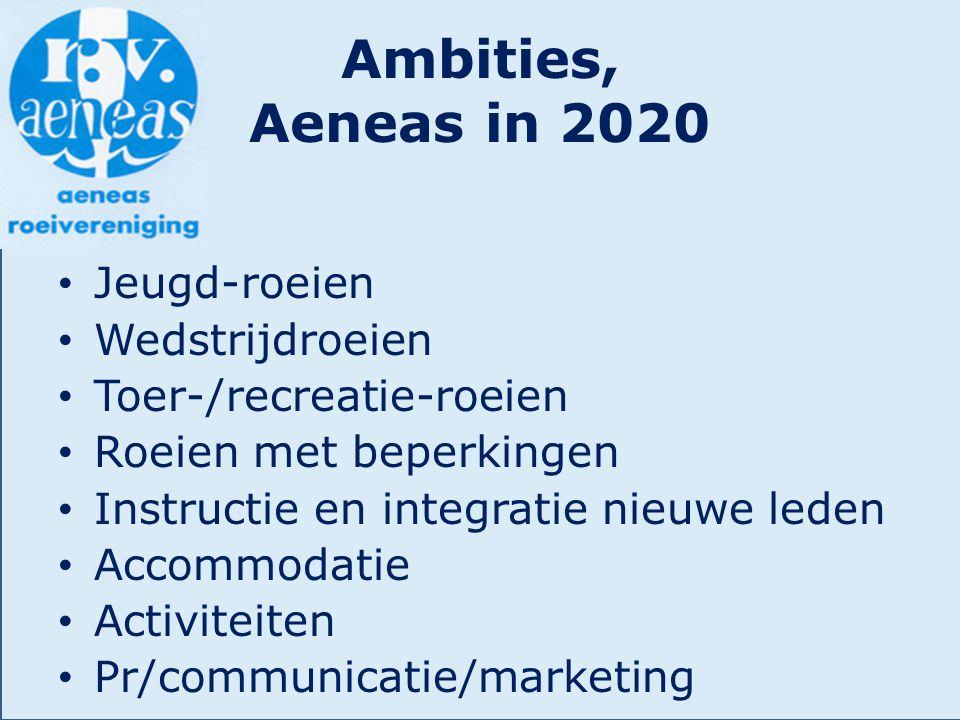 Ambities, Aeneas in 2020 Jeugd-roeien Wedstrijdroeien Toer-/recreatie-roeien Roeien met beperkingen Instructie en integratie nieuwe leden Accommodatie Activiteiten Pr/communicatie/marketing