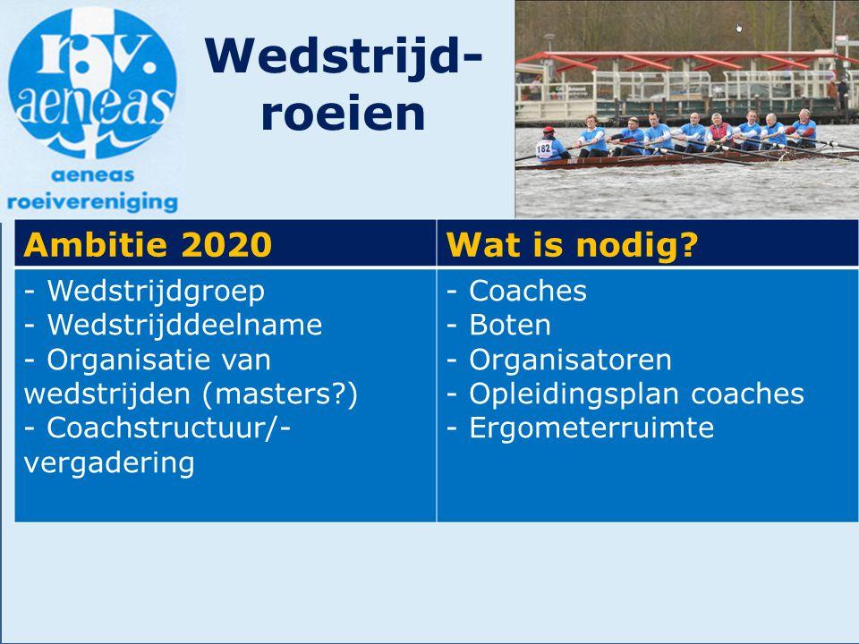 Wedstrijd- roeien Ambitie 2020Wat is nodig? - Wedstrijdgroep - Wedstrijddeelname - Organisatie van wedstrijden (masters?) - Coachstructuur/- vergaderi