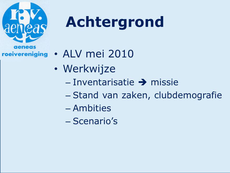 Achtergrond ALV mei 2010 Werkwijze – Inventarisatie  missie – Stand van zaken, clubdemografie – Ambities – Scenario's