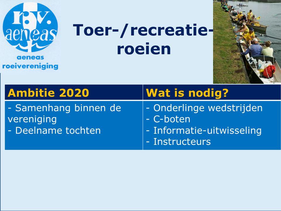 Toer-/recreatie- roeien Ambitie 2020Wat is nodig? - Samenhang binnen de vereniging - Deelname tochten - Onderlinge wedstrijden - C-boten - Informatie-
