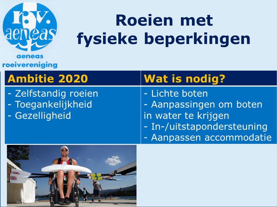 Roeien met fysieke beperkingen Ambitie 2020Wat is nodig? - Zelfstandig roeien - Toegankelijkheid - Gezelligheid - Lichte boten - Aanpassingen om boten