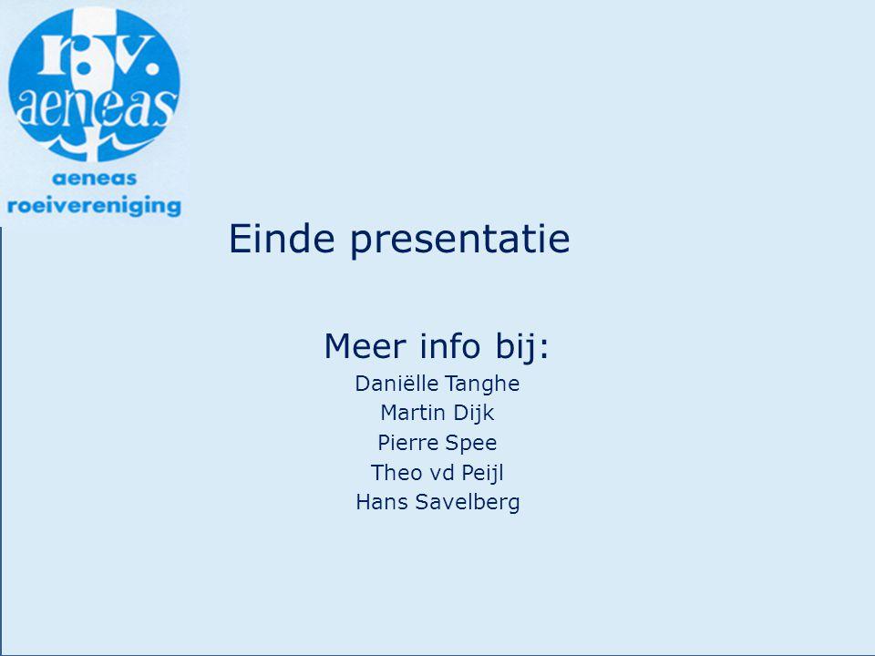 Einde presentatie Meer info bij: Daniëlle Tanghe Martin Dijk Pierre Spee Theo vd Peijl Hans Savelberg