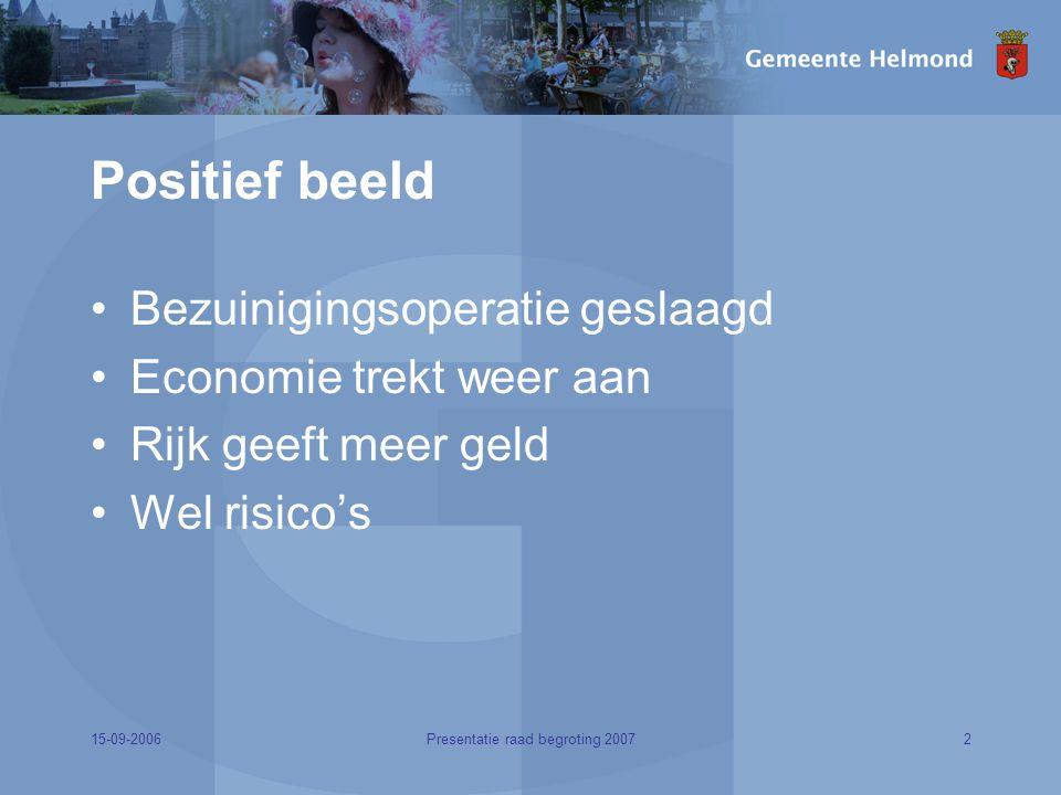 15-09-20062Presentatie raad begroting 2007 Positief beeld Bezuinigingsoperatie geslaagd Economie trekt weer aan Rijk geeft meer geld Wel risico's