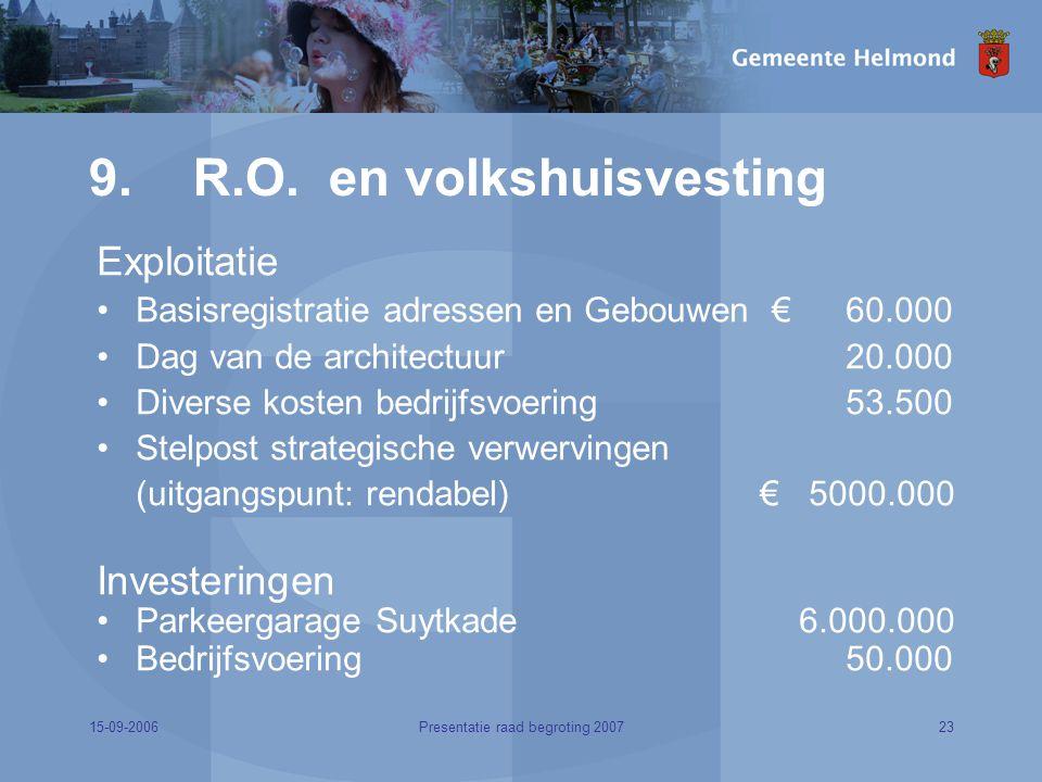 15-09-200623Presentatie raad begroting 2007 9. R.O.
