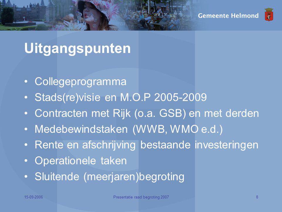 15-09-20068Presentatie raad begroting 2007 Uitgangspunten Collegeprogramma Stads(re)visie en M.O.P 2005-2009 Contracten met Rijk (o.a.
