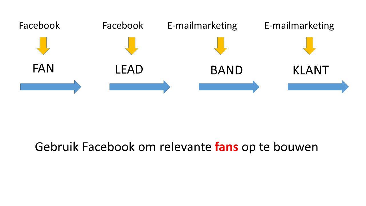 FAN KLANTBAND LEAD FacebookE-mailmarketingFacebookE-mailmarketing Gebruik Facebook om relevante fans op te bouwen