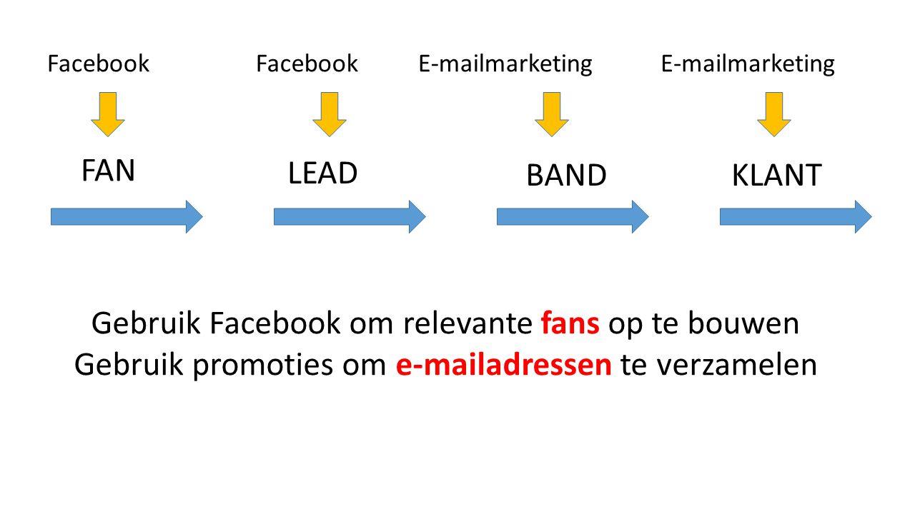 FAN KLANTBAND LEAD FacebookE-mailmarketingFacebookE-mailmarketing Gebruik Facebook om relevante fans op te bouwen Gebruik promoties om e-mailadressen te verzamelen