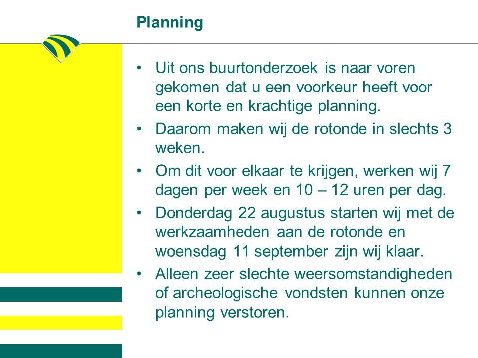 Planning Uit ons buurtonderzoek is naar voren gekomen dat u een voorkeur heeft voor een korte en krachtige planning.