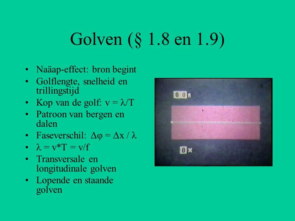 Golven (§ 1.8 en 1.9) Naäap-effect: bron begint Golflengte, snelheid en trillingstijd Kop van de golf: v = /T Patroon van bergen en dalen Faseverschil