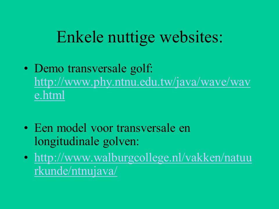 Enkele nuttige websites: Demo transversale golf: http://www.phy.ntnu.edu.tw/java/wave/wav e.html http://www.phy.ntnu.edu.tw/java/wave/wav e.html Een m