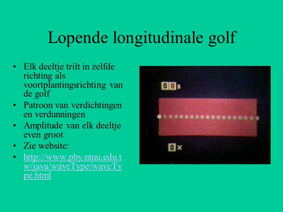 Lopende longitudinale golf Elk deeltje trilt in zelfde richting als voortplantingsrichting van de golf Patroon van verdichtingen en verdunningen Ampli