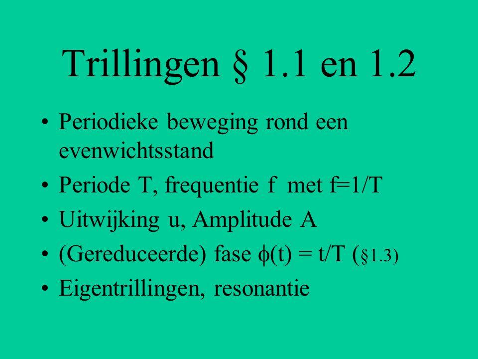 Trillingen § 1.1 en 1.2 Periodieke beweging rond een evenwichtsstand Periode T, frequentie f met f=1/T Uitwijking u, Amplitude A (Gereduceerde) fase 