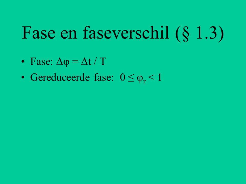 Fase en faseverschil (§ 1.3) Fase: Δφ = Δt / T Gereduceerde fase: 0 ≤ φ r < 1