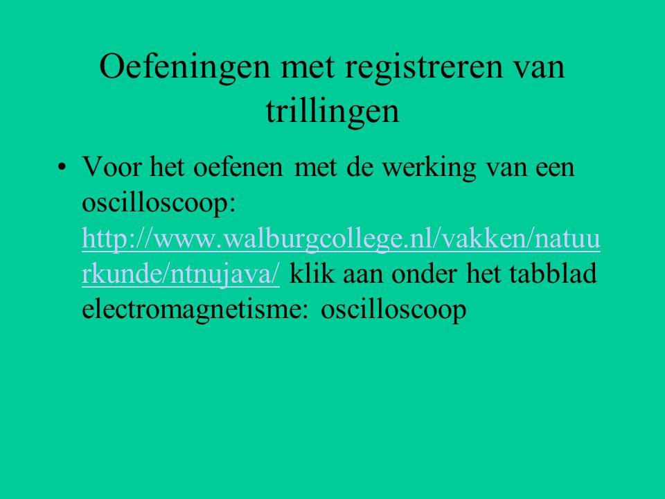Oefeningen met registreren van trillingen Voor het oefenen met de werking van een oscilloscoop: http://www.walburgcollege.nl/vakken/natuu rkunde/ntnuj