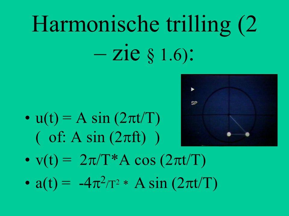 Harmonische trilling (2 – zie § 1.6) : u(t) = A sin (2  t/T) ( of: A sin (2  ft) ) v(t) = 2  /T*A cos (2  t/T) a(t) = -4  2 /T 2 * A sin (2  t/T