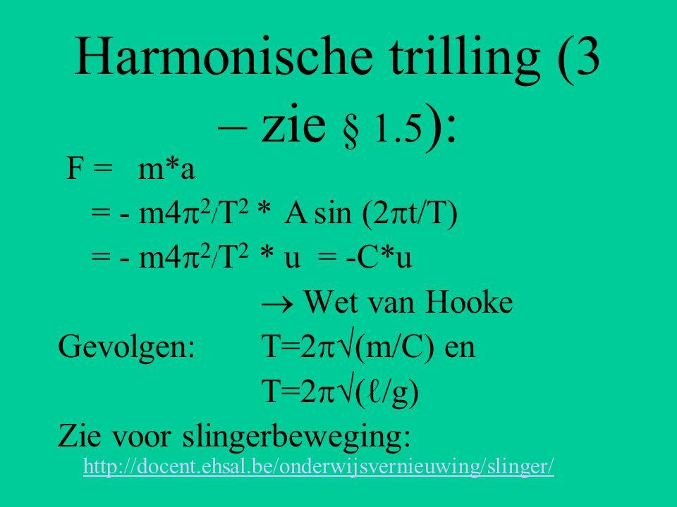 Energie bij een harmonische trilling (§ 1.6) : E = 1/2mv 2 + 1/2Cu 2 = 1/2m4π 2 /T 2 *A 2 cos 2 (2π/T*t) + 1/2m4π 2 /T 2 A 2 sin 2 (2π/T*t) = 1/2m4π 2 /T 2 *A 2 {cos 2 (2π/T*t) + sin 2 (2π/T*t)} met: cos 2 (2π/T*t) + sin 2 (2π/T*t) = 1 Duzzzzzzzzzzz…………… E = 2  2 mA 2 /T 2 of: 2  2 mA 2 f 2