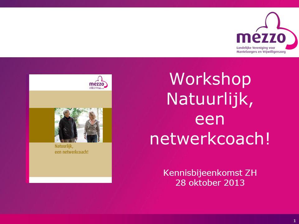 1 Workshop Natuurlijk, een netwerkcoach! Kennisbijeenkomst ZH 28 oktober 2013