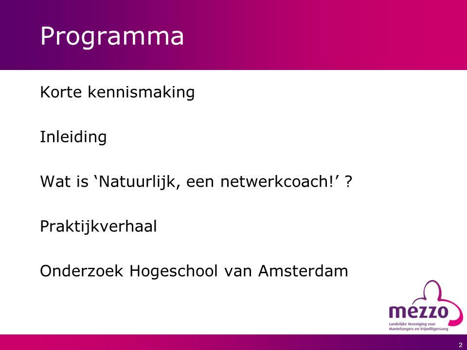 2 Programma Korte kennismaking Inleiding Wat is 'Natuurlijk, een netwerkcoach!' ? Praktijkverhaal Onderzoek Hogeschool van Amsterdam