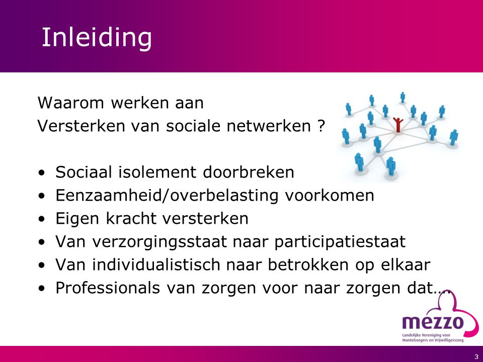 3 Inleiding Waarom werken aan Versterken van sociale netwerken ? Sociaal isolement doorbreken Eenzaamheid/overbelasting voorkomen Eigen kracht verster