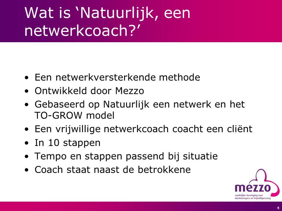4 Wat is 'Natuurlijk, een netwerkcoach?' Een netwerkversterkende methode Ontwikkeld door Mezzo Gebaseerd op Natuurlijk een netwerk en het TO-GROW mode