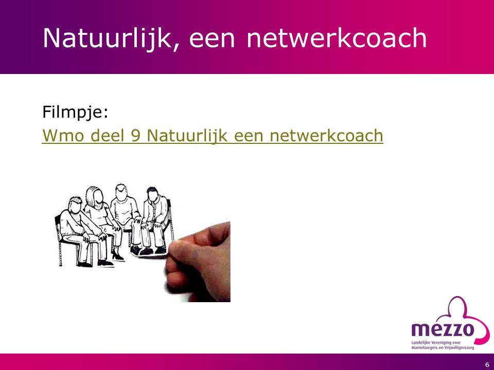 6 Natuurlijk, een netwerkcoach Filmpje: Wmo deel 9 Natuurlijk een netwerkcoach