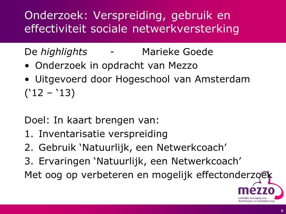 9 Onderzoek: Verspreiding, gebruik en effectiviteit sociale netwerkversterking De highlights- Marieke Goede Onderzoek in opdracht van Mezzo Uitgevoerd