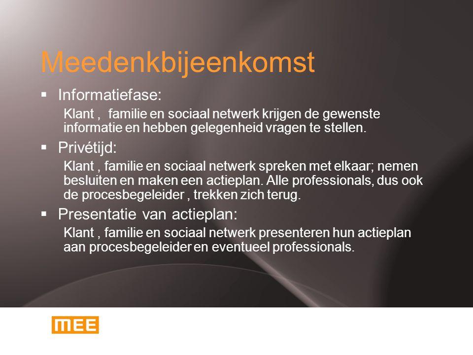 Meedenkbijeenkomst  Informatiefase: Klant, familie en sociaal netwerk krijgen de gewenste informatie en hebben gelegenheid vragen te stellen.  Privé