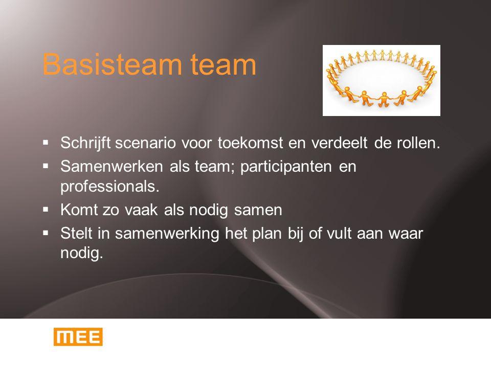 Basisteam team  Schrijft scenario voor toekomst en verdeelt de rollen.  Samenwerken als team; participanten en professionals.  Komt zo vaak als nod
