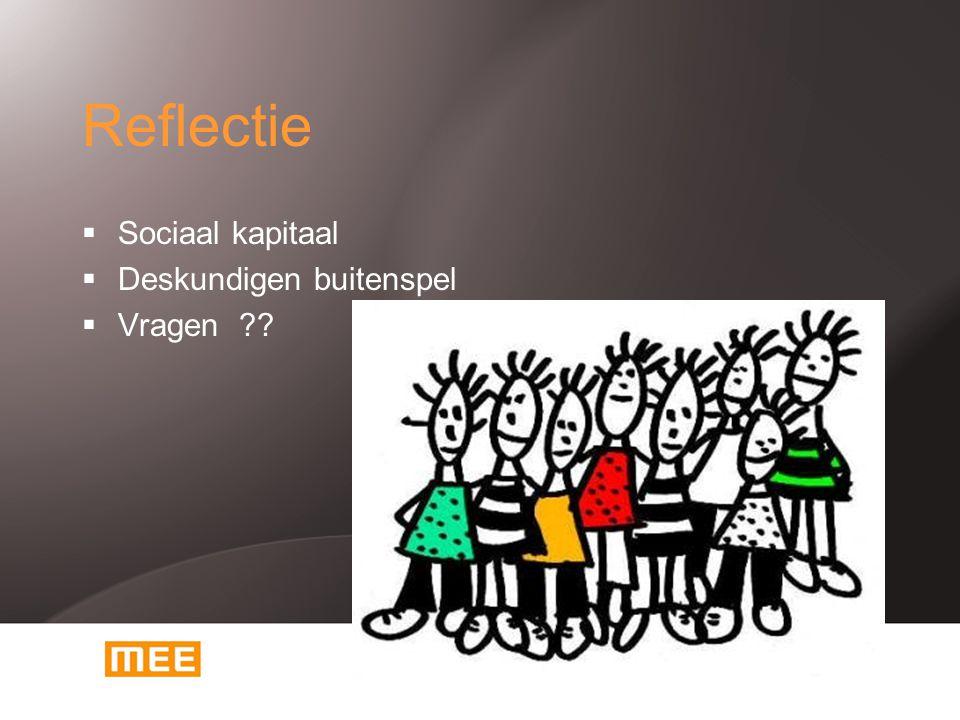Reflectie  Sociaal kapitaal  Deskundigen buitenspel  Vragen ??