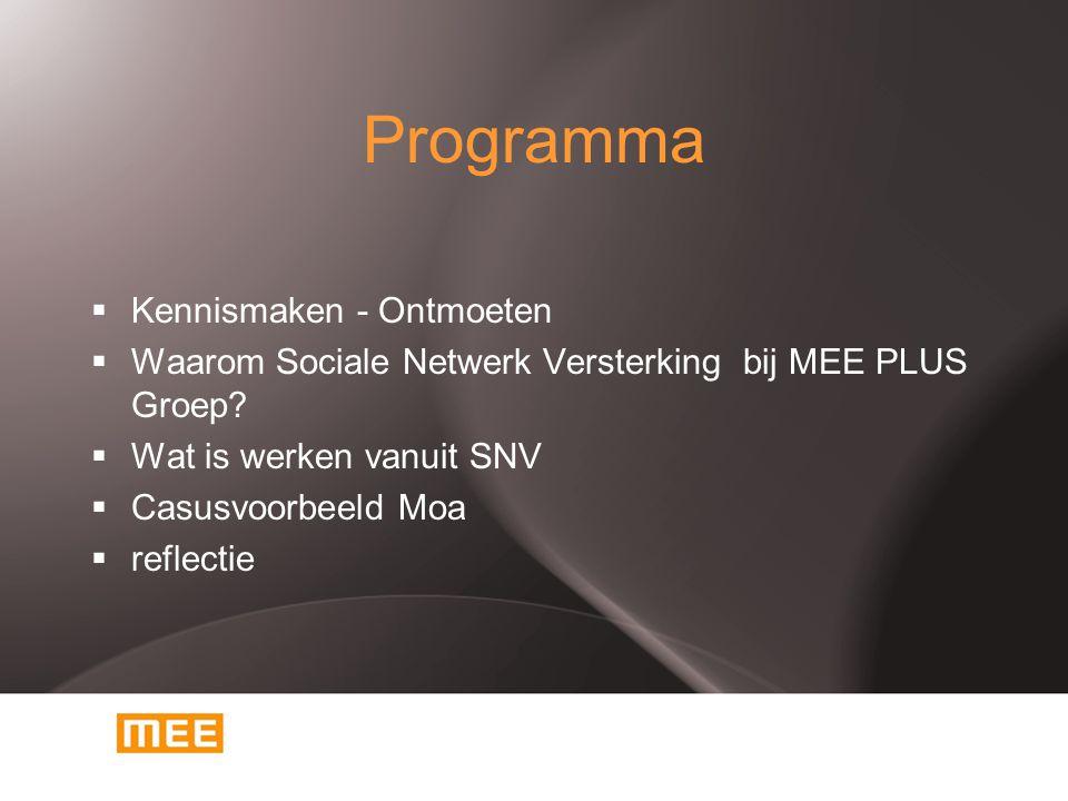 Programma  Kennismaken - Ontmoeten  Waarom Sociale Netwerk Versterking bij MEE PLUS Groep?  Wat is werken vanuit SNV  Casusvoorbeeld Moa  reflect