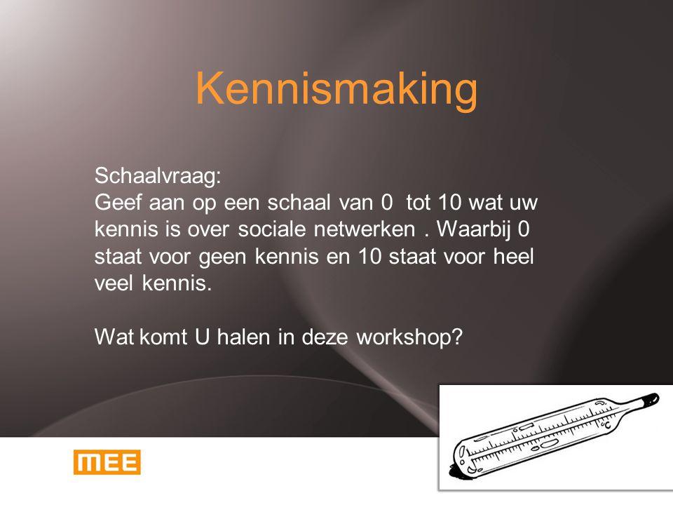 Kennismaking Schaalvraag: Geef aan op een schaal van 0 tot 10 wat uw kennis is over sociale netwerken. Waarbij 0 staat voor geen kennis en 10 staat vo