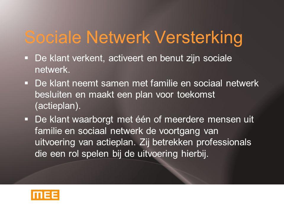 Sociale Netwerk Versterking  De klant verkent, activeert en benut zijn sociale netwerk.  De klant neemt samen met familie en sociaal netwerk besluit