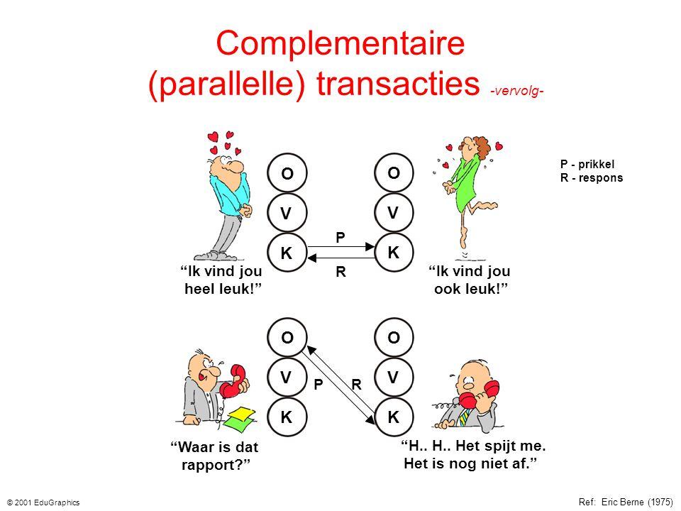 """Complementaire (parallelle) transacties Het antwoord op de stimulus is passend en zoals verwacht. De communicatie is open en kan doorgaan. """"Kinderen z"""