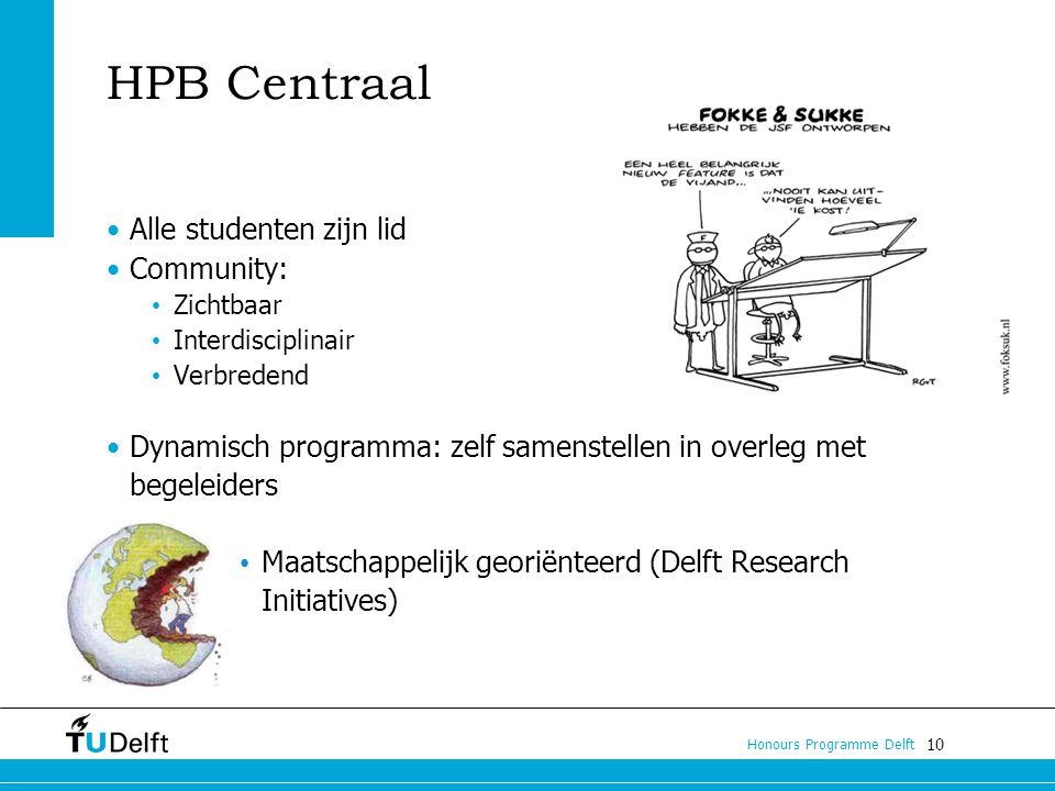 10 Honours Programme Delft HPB Centraal Alle studenten zijn lid Community: Zichtbaar Interdisciplinair Verbredend Dynamisch programma: zelf samenstellen in overleg met begeleiders Maatschappelijk georiënteerd (Delft Research Initiatives)