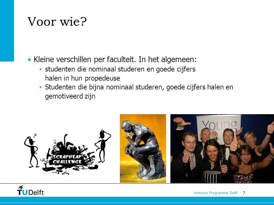 7 Honours Programme Delft Voor wie.Kleine verschillen per faculteit.