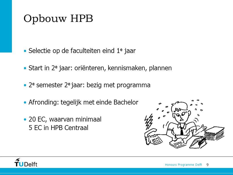 9 Honours Programme Delft Opbouw HPB Selectie op de faculteiten eind 1 e jaar Start in 2 e jaar: oriënteren, kennismaken, plannen 2 e semester 2 e jaar: bezig met programma Afronding: tegelijk met einde Bachelor 20 EC, waarvan minimaal 5 EC in HPB Centraal