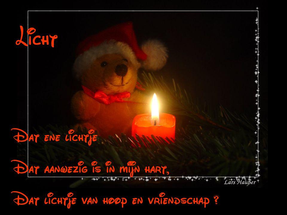 Dat ene lichtje Dat aanwezig is in mijn hart, Dat lichtje van hoop en vriendschap ? Licht