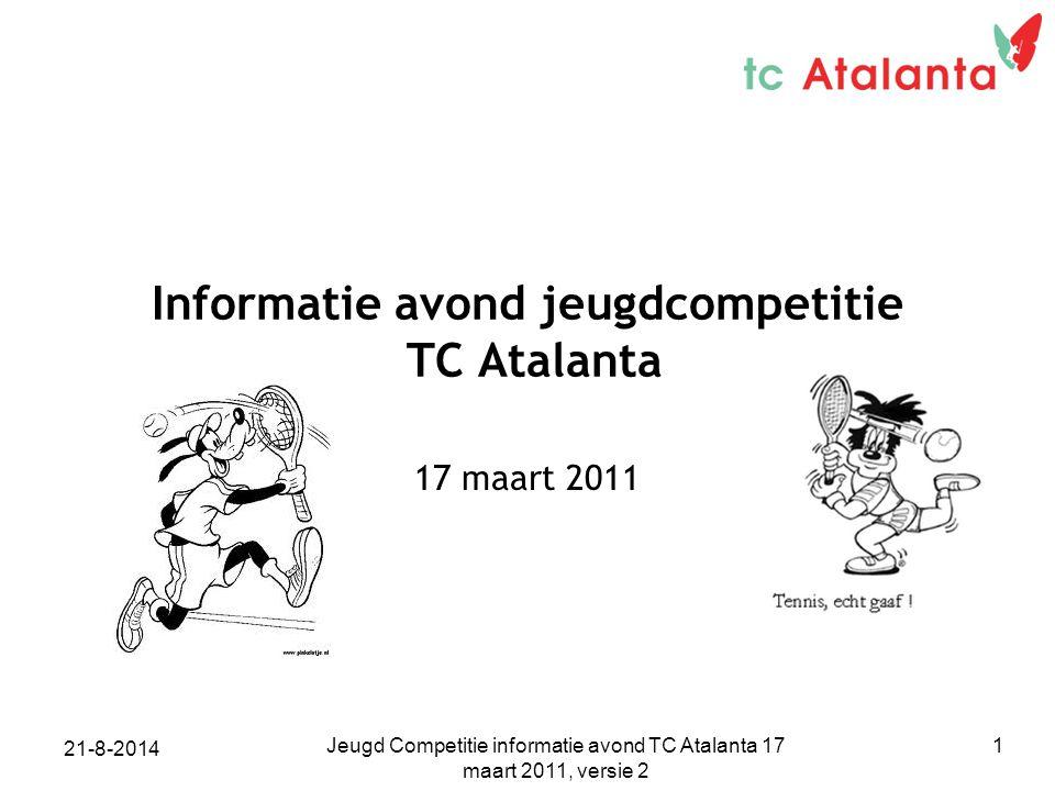 Jeugd Competitie informatie avond TC Atalanta 17 maart 2011, versie 2 1 Informatie avond jeugdcompetitie TC Atalanta 17 maart 2011 21-8-2014