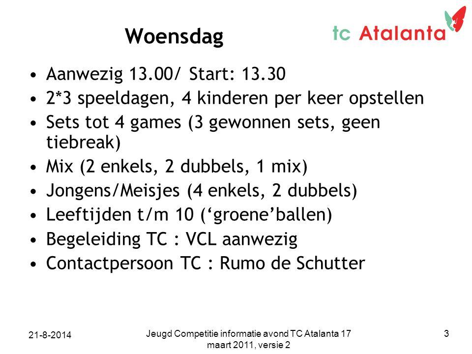 Woensdag Aanwezig 13.00/ Start: 13.30 2*3 speeldagen, 4 kinderen per keer opstellen Sets tot 4 games (3 gewonnen sets, geen tiebreak) Mix (2 enkels, 2