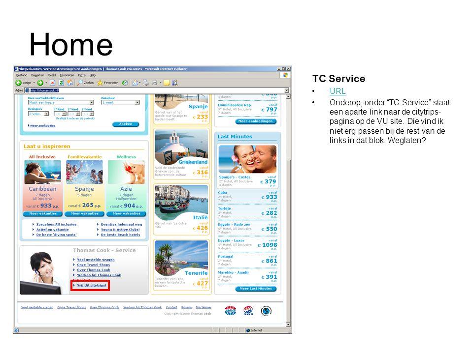 Home TC Service URL Onderop, onder TC Service staat een aparte link naar de citytrips- pagina op de VU site.