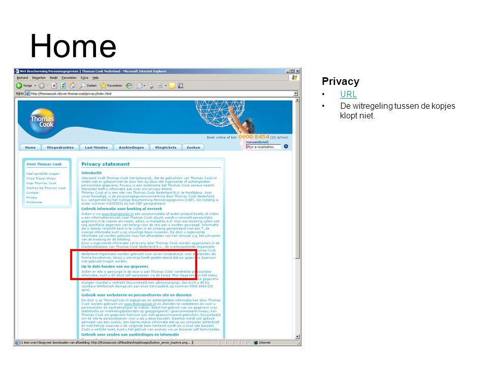 Home Privacy URL De witregeling tussen de kopjes klopt niet.