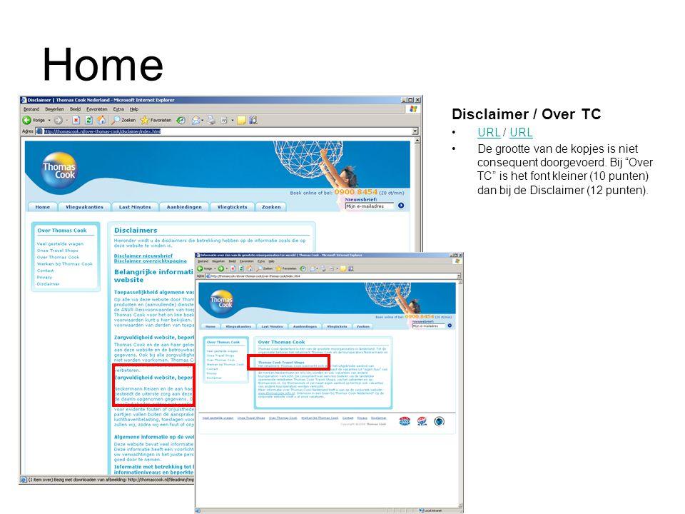 """Home Disclaimer / Over TC URL / URLURL De grootte van de kopjes is niet consequent doorgevoerd. Bij """"Over TC"""" is het font kleiner (10 punten) dan bij"""