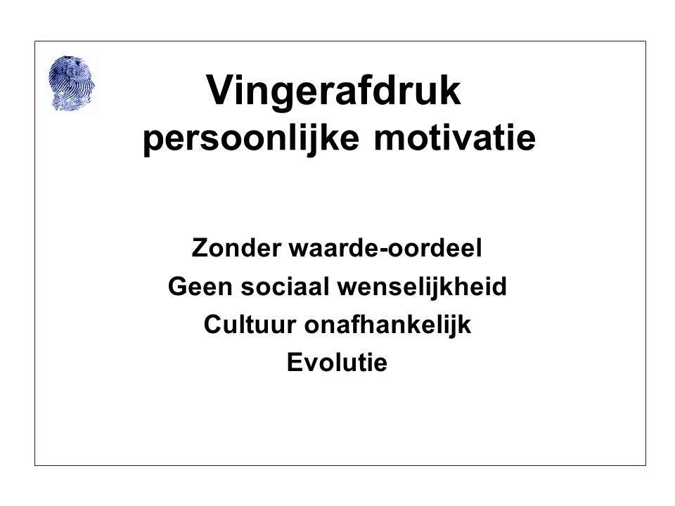 Vingerafdruk persoonlijke motivatie Zonder waarde-oordeel Geen sociaal wenselijkheid Cultuur onafhankelijk Evolutie