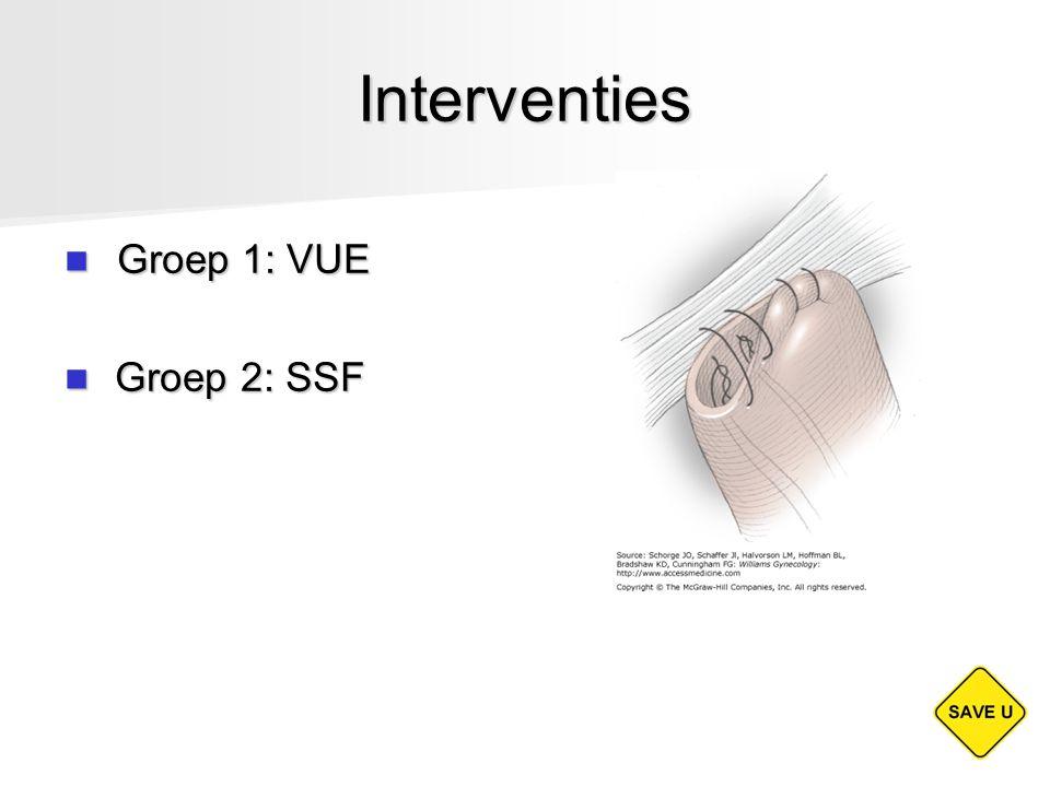 Interventies Groep 1: VUE Groep 1: VUE Groep 2: SSF Groep 2: SSF