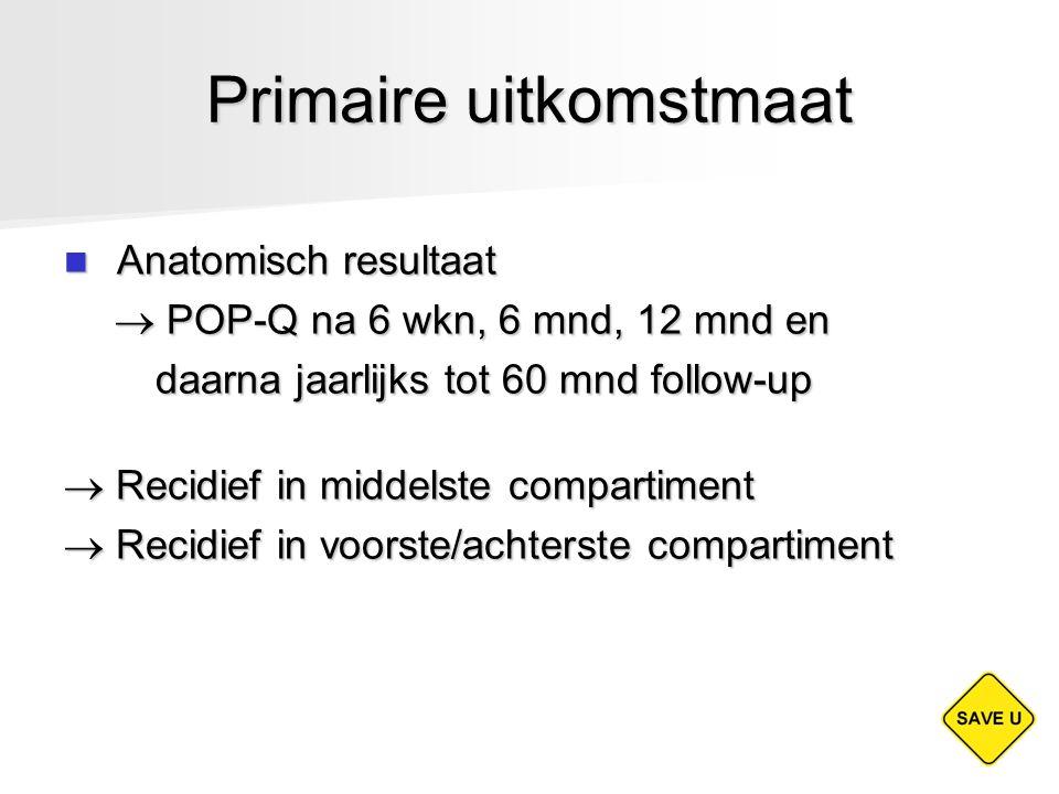 Primaire uitkomstmaat Anatomisch resultaat Anatomisch resultaat  POP-Q na 6 wkn, 6 mnd, 12 mnd en  POP-Q na 6 wkn, 6 mnd, 12 mnd en daarna jaarlijks