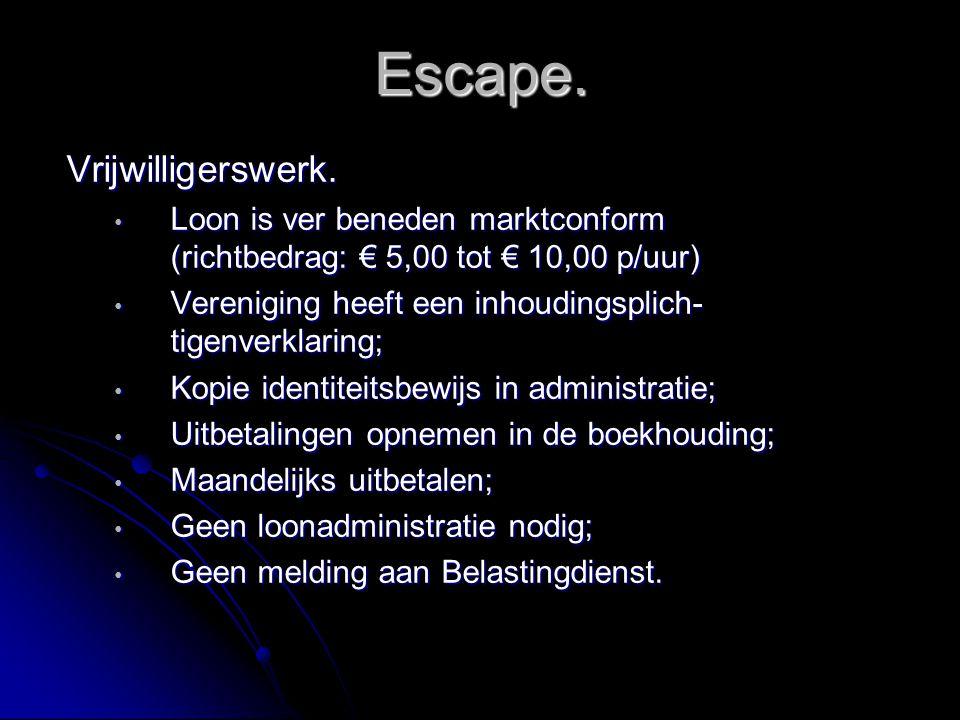 Escape. Vrijwilligerswerk. Loon is ver beneden marktconform (richtbedrag: € 5,00 tot € 10,00 p/uur) Loon is ver beneden marktconform (richtbedrag: € 5